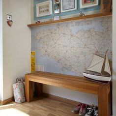 Hallway with wooden bench | Hallway decorating | Style at Home | Housetohome.co.uk