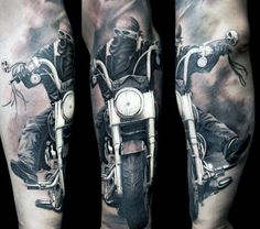 Incredible Forearm Sleeve Motorcycle Rider Biker Mens Tattoos