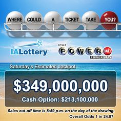 The sun is shining, it's Friday and the #Powerball jackpot has been growing. There's $349 million reasons to play! #GotYourTicket  Don't forget to enter your Powerball tickets (they can be winning or nonwinning tickets) into the #PBPowerCruise promotion. The first deadline to enter is before midnight Monday! Click the image to download the app or you can enter them online. Just log into your VIP Club account to get started. Not a member? Join for free today.