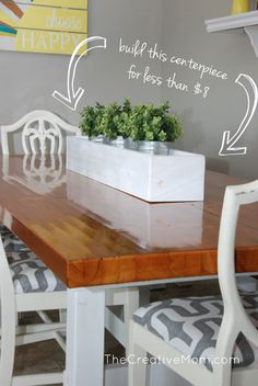 This DIY planter box makes a great centerpiece for dining table or outdoor party. You could also put it in a sunny window. Natalie of The Creative Mom has the tutorial.