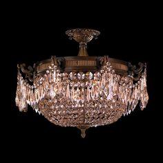 Traditional Elegance 3 Light Antique Bronze Finish with French Pendalogue Golden Teak Crystal Semi Flush Mount Ceiling Light