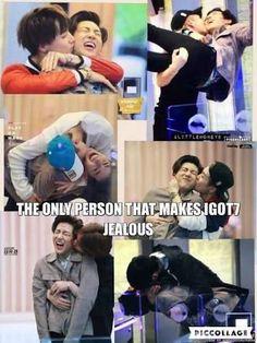 members kissing BamBam, but we can't stay mad at him forever. Got7 Bambam, Bts E Got7, Mark Bambam, Youngjae, Meme Got7, Got7 Funny, Funny Kpop Memes, Jaebum, Btob