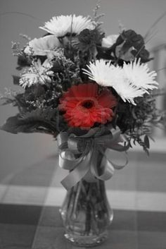 Image detail for -Stock Photo - Black and white photograph of flowers in vase with red ...