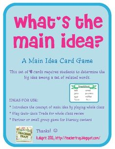 Main Idea Game and Literacy Center