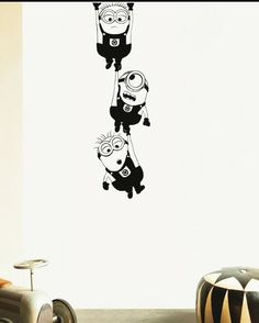 Wall Decal Minion Vinyl Sticker For Kids Living Room Bedroom Nursery House Decoration Window Poster Boys Home Removable Simple Wall Paintings, Creative Wall Painting, Creative Wall Decor, Wall Painting Decor, Creative Walls, Diy Wall Art, Wall Art Decor, Wall Art Designs, Wall Design