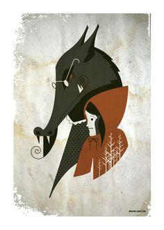 big bad wolf miniprint by strongstuff.deviantart.com on @deviantART