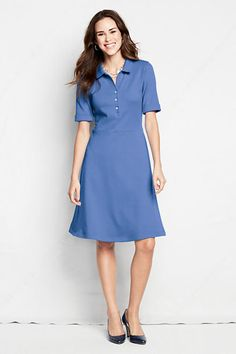 Women's Elbow Sleeve 60/40 Blend Seamed Polo Dress from Lands' End