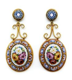 Italian gold micro-mosaic pendant earrings, mid-19th century.