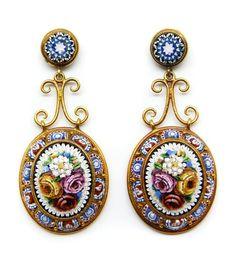 Italian gold micro-mosaic pendant earrings, mid-19th century.