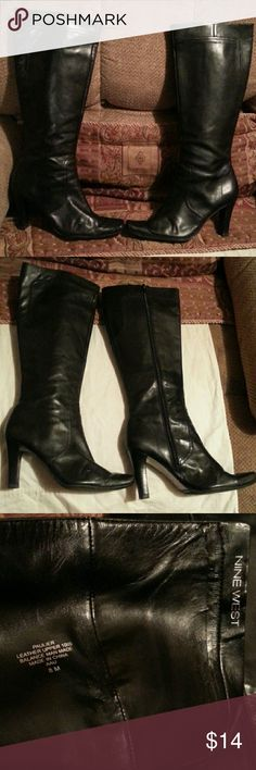 #FREE  WITH  BUNDLE#NINE  West leather  boots Black  leather  high  heel  boots  with  side  zip.size  8 #peeling  inside  boots Nine West Shoes Heeled Boots