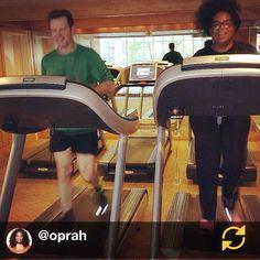 Talkshow queen Oprah completes a good workout using Technogym #wellness #technogym #itrainwithtechnogym