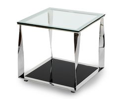 Accent Square Glass Table,Stainless Steel & Black | Discoveries | Michael Amini Furniture Designs | amini.com