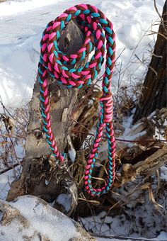 Thick Rope Dog leash 8 Strand 550 Paracord Lead with Metal Clasp Neon pink, Blue and Brown by BrodsParacord on Etsy