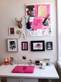 Love the original personality put into the decorating above the desk.