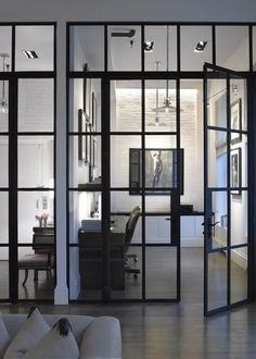 home office in Soho Loft // by Heiberg Cummings Steel doors add instant caracter Soho Loft, Industrial Windows, Industrial Interiors, Industrial Style, Industrial Shelving, Industrial Stairs, Industrial Cafe, Industrial Bedroom, Industrial Living