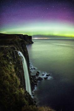 ourperfectearth:  Aurora over Kilt Rock & Mealt Falls on the Isle of Skye, Scotland. [OC] [1667x2500] @caitensphoto Original Link