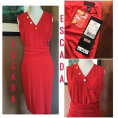 """ESCADA Red Dress ! ❤️ Escada ! Beautiful """" Medium Red """" dress ! No sleeves ! 17 inch back hidden zipper ! Length is about 44 inches ! 6 gold Escada buttons on front bodice ! 1 extra button ! Only 1 button unbuttons ! Completely lined in medium red ! Vee neckline ! Waist has a sort of cummerbund look that only is attached in back where it is ruched ! It is about 7 inches ! Lining is 100% polyester ! Beautiful ! ❤️ Escada Dresses"""