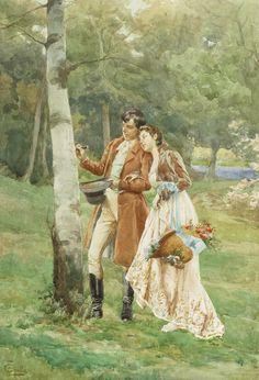 A Lover's Token by  Fabio Cipolla ~ (Italian: 1852-1935)