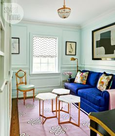 cozy and chic family room, love the mint