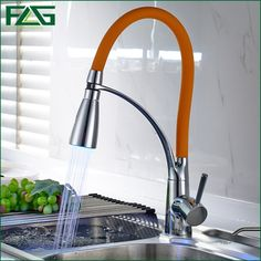 92.30$  Buy here - Factory Direct Sale Kitchen Faucet Orange Color and Chrome LED Light Mixer Sink Tap ,360 Degree Rotating Spring Style Wasserhahn  #buyininternet