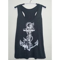 Retro Anchor tank top/ Cool tank tops size S/M/L/XL beach tank/ women... ($13) ❤ liked on Polyvore