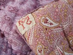 Antique French Boutis Quilt Hand Made Pretty Colors . Paisley design . Cotton. Reversible by JacquelineMcEwan on Etsy