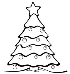 Christmas Tree Drawing Coloring Page Trees Drawings Printable Pages Simple Finger Puppets Pine