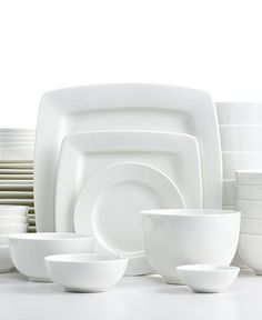 A collection with no mugs! I love the assortment of square and round  sc 1 st  Pinterest & Apilco Tradition Porcelain Dinnerware Place Settings | Williams ...