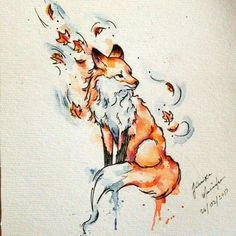 What do you know about fox tattoo meaning? Meanings of the fox tattoo design may be controversial. Aquarell Tattoo Fuchs, Fuchs Tattoo, Watercolor Fox Tattoos, Watercolor Sketch, Watercolor Ideas, Cute Drawings, Animal Drawings, Fall Drawings, Drawing Animals