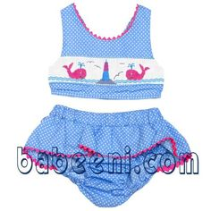Wholesale supplier of hand smocked clothing with excellent quality and affordable price Baby Bikini, Baby Swimwear, Baby Outfits, Kids Outfits, Toddler Girl Style, Toddler Fashion, Smocked Baby Dresses, Baby Swimming, Baby Boutique
