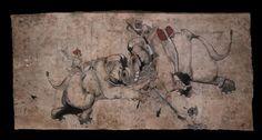 Style: Rajasthani; Type: Elephants and hunts; Title: 'Elephants fighting', Kota, 1655-1660