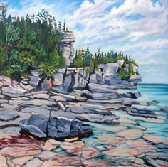 """""""Totally Bruce"""", The Bruce Peninsula. Acrylic on Canvas - Anna Clarey Acrylic Painting Lessons, Watercolor Paintings Abstract, Watercolor Artists, Watercolor Landscape, Oil Painting On Canvas, Watercolor Illustration, Abstract Landscape, Landscape Paintings, Painting Art"""