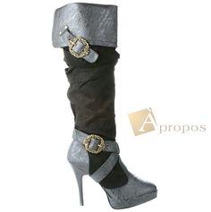 Stiefel 9cm Damen Schnallen Venice Stiletto High Heel Braun Apropos