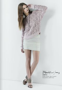 Mini skirt with a slouchy knit sweater
