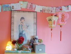 Try some Chinoiserie for a change. Bamboo Restaurant, Cute Apartment Decor, Chinese Crafts, Vintage Lanterns, Colourful Living Room, Chinese Lanterns, China Girl, Pink Walls, Paper Lanterns