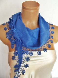 BIG DISCOUNT New Design Pashmina scarf with lace by smilingpoet, $12.90