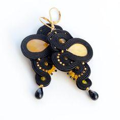 Black & yellow soutache earrings long elegant evening | Etsy Tiny Stud Earrings, Unique Earrings, Statement Earrings, Unique Jewelry, Soutache Earrings, Women's Earrings, Green And Purple, Black N Yellow, Christmas Gifts For Girlfriend