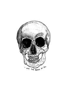 Skull Skeleton Pen Illustration Print // by StaggIllustration