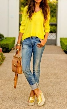 Cuffed jeans + wedges.