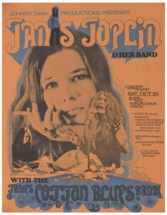 Janis Joplin & James Cotton Blues Band, At Witchita Kansas. A rare one, Blues Rock, Acid Rock, Tour Posters, Band Posters, Vintage Concert Posters, Vintage Posters, Illustration Photo, Illustrations, Janis Joplin Frases