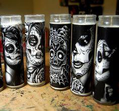 Glass Sugar Skull Candles