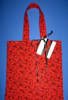 Red Lady  / Reusable / Fabric Gift Tote / Medium / With Gift Tag by olebaglady for $3.75