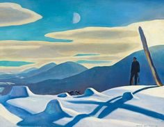 Rockwell Kent, The Trapper, 1921. Oil on canvas, overall: 34 1/8 × 44 1/8in. (86.7 × 112.1 cm). Whitney Museum of American Art, New York; purchase 31.258. Rights courtesy of Plattsburgh State Art Museum, State University of New York, USA, Rockwell Kent Collection, Bequest of Sally Kent Gorton. All rights reserved. Rockwell Kent, Castle Painting, Painting Snow, Artist Painting, Hunters In The Snow, Pieter Bruegel The Elder, Whitney Museum, Book Of Hours, New York Art