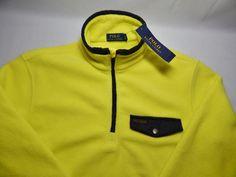 NWT $145 Polo Ralph Lauren Men's Performance Yellow Fleece w/Black  Pullover XXL #PoloRalphLauren #FleeceJacket