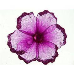 Organza Glitter Nylon, Mini Flower, 2-inch, 12-pack, Fuchsia