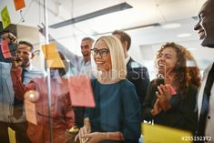 Working Together, Sticky Notes, Business Women, Stock Photos, Glass, Wall, Adobe, Explore, Image