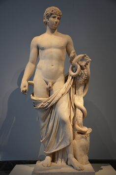 Antinous as Agathodemon. headless marble statue completed with an Antinous' head, 130–138 AD, Altes Museum, Berlin | da Following Hadrian