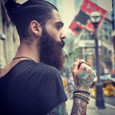 Aaron Malley - full thick bushy dark beard mustache beards bearded man men mens' style tattoos tattooed handsome #beardsforever
