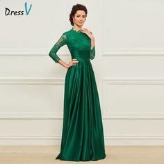 4a574c76a47 Dressv Green Długa sukienka dla matki panny młodej Trzy czwarte rękawy  Koronkowe kwiatki Prosta elegancka suknia