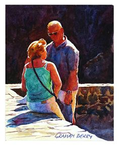 """Conversation in the sun by Graham Berry Watercolor ~ 10"""" x 8"""""""